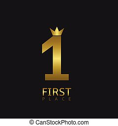 First place symbol Golden number one with crown icon, Vector...