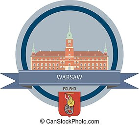 Warsaw ribbon banner - Warsaw symbol at the round banner