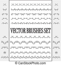 Vector set of seamless ornate and floral brushes Borders can...
