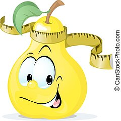cute vector apple smiling with tape measure - vector...