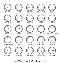 World Time Zone Clock icon set, Vector illustration