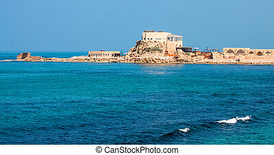 Caesarea - Mediterranean sea coast,view of the ruins...