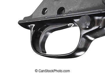 Trigger - Metal trigger for a rifle out of the gun isolated...