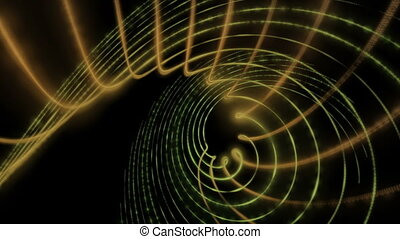 Futuristic video animation with particle stripe object in motion, loop HD 1080p