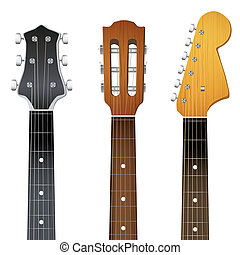 Set of Guitar neck fretboard and headstock. Illustration...