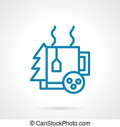 Simple blue line winter tea vector icon - Warm winter...