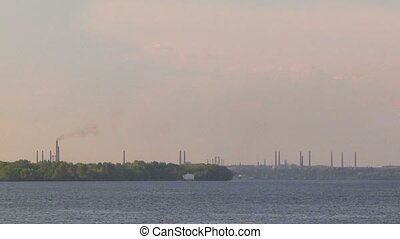 Industrial Landscape With River And Plant Smokestacks -...