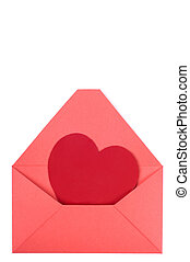 Envelope and heart - A red heart in a opened red envelope....