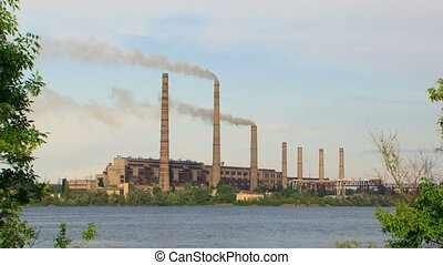 Coal Power Plant With Smoke Stacks