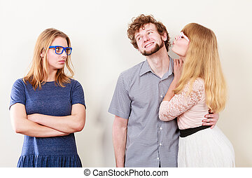 Jealous woman with happy couple - Jealousy and betrayal...