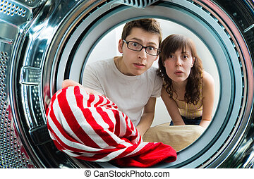 De, dentro, lavando, máquina, vista