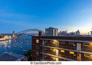 Sunset at Sydney Harbor Bridge - Beautiful sunset scene at...