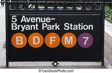 New york subway sign at Bryant Park Station - New york...