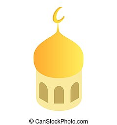 Mosque dome isometric 3d icon - Mosque dome and Islamic...