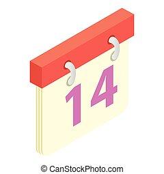 Valentines day calendar isometric 3d icon