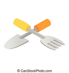 Garden spade and fork icon isometric