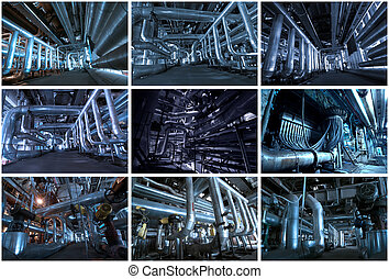Industrial backgrounds collage made of 9 pictures