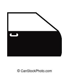 Black car door flat icon