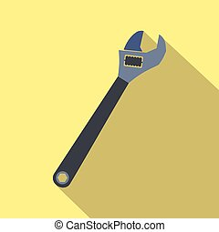 Adjustable wrench flat icon with shadow on a yellow...