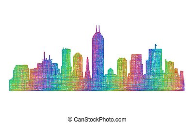 Indianapolis skyline silhouette - multicolor line art -...