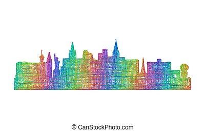 Las Vegas skyline silhouette - multicolor line art