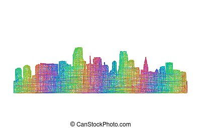 Miami skyline silhouette - multicolor line art
