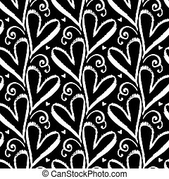 Pattern with hand drawn hearts - Vector seamless pattern...