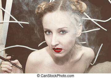 Woman in the smoke