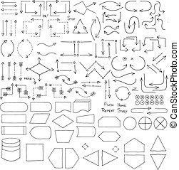 Doodle Flowchart Interface Elements - Doodle set of...
