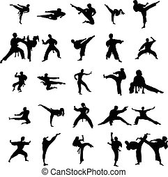 Karate silhouettes set isolated on the white background