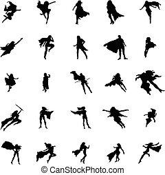 Superhero woman silhouettes set