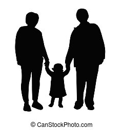 grandmother and grandfather with child vector