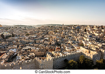 Panorama of Jerusalem from the north, Israel - Panorama of...