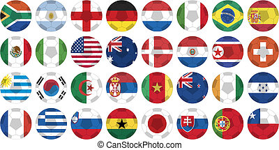 sticker buttons of national flags in oval shape with a ball covering