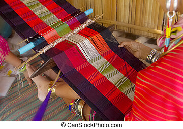 Thailand traditional weaving at loom