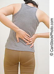 Attractive female person suffers from backache