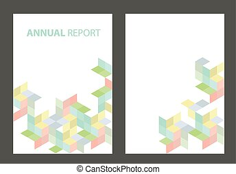 Annual Report cover with pastel colored cubes - A4 template...