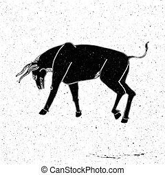 Hand drawn bull in a rack in the grunge style, can be used...