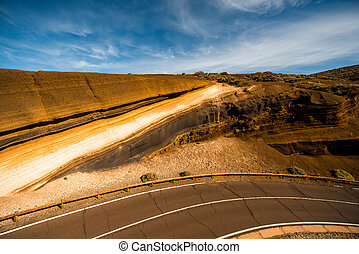 Magma section on Tenerife national park of Volcano Teide in...
