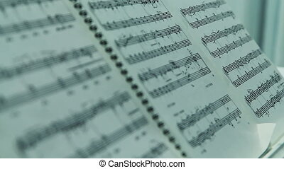 Music Notes on piano - Sheets of music notes on piano