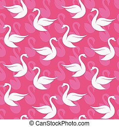 Vector seamless pattern with white swan on pink background. wallpaper