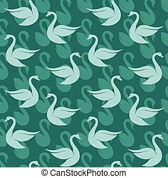 Vector seamless pattern with swan on blue background. wallpaper