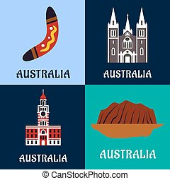 Australian ladscape and architecture flat icons