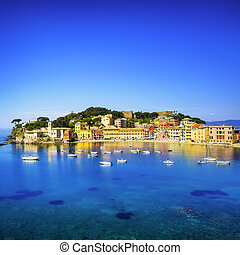 Sestri Levante, silence bay sea harbor and beach view....