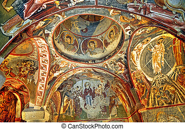 Fresco - Ceiling of the ancient caves  in Cappadocia