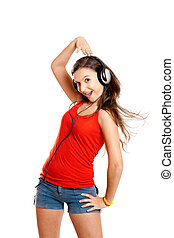 Young girl listen music