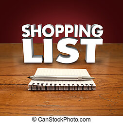 Shopping List Pen Notepad Items to Buy Remember