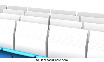 Folders And Documents - Blue Folders And Documents On White...