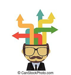 decision - abstract business man with arrow, business...