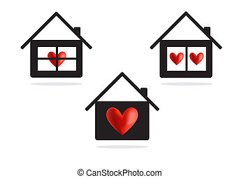House with heart vector icon, concept background